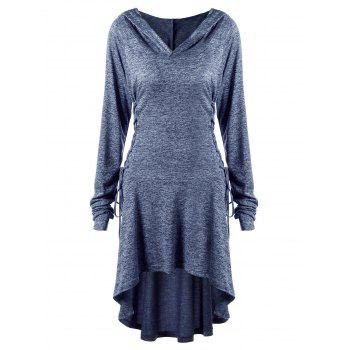 Plus Size Lace Up Dip Hem Hoodie - BLUE BLUE
