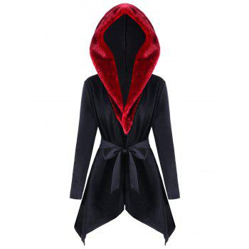 Hooded Faux Fur Collar Asymmetric Coat - BLACK XL