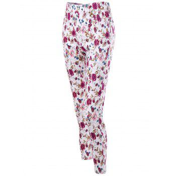 Patch Pockets Allover Floral Skinny Pants - L L