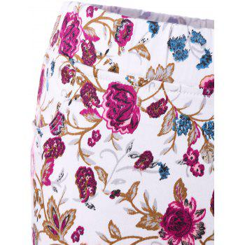 Patch Pockets Allover Floral Skinny Pants - COLORMIX 2XL