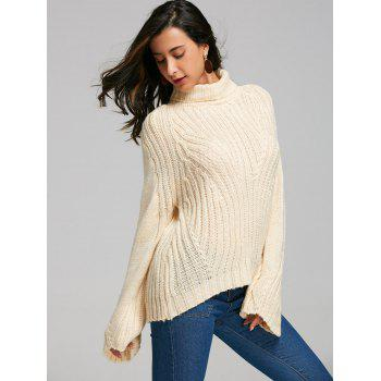 Drop Shoulder Turtleneck Sweater with Stripy - PALOMINO PALOMINO
