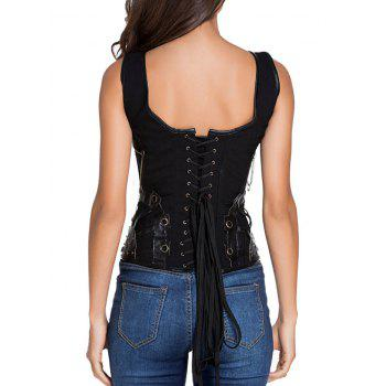 Pirate Punk Studded Lace Up  Overbust Corset Vest - BLACK BLACK