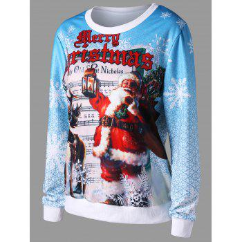 Christmas Pullover Graphic Print Sweatshirt - COLORMIX L