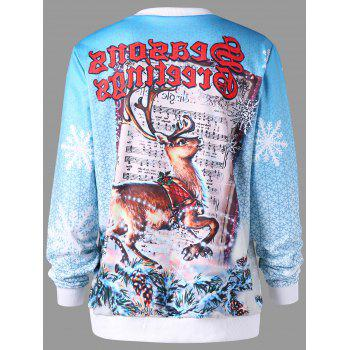 Christmas Pullover Graphic Print Sweatshirt - COLORMIX 2XL