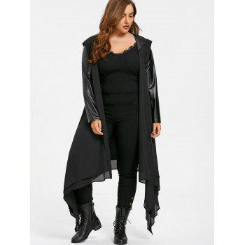 PU Leather Trim Hooded Duster Coat - BLACK XL