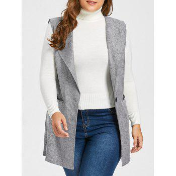 Plus Size One Button Pocket Waistcoat - GRAY GRAY