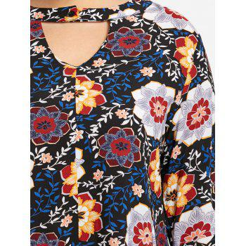 Plus Size Keyhole Bell Sleeve Floral Blouse - COLORMIX 3XL