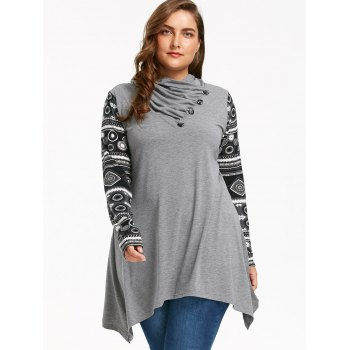 Heaps Collar Long Sleeve Plus Size Sharkbite T-shirt - GRAY GRAY