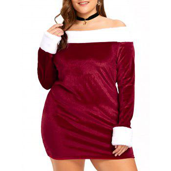 Christmas Plus Size Off The Shoulder Velvet Dress - RED AND WHITE RED/WHITE