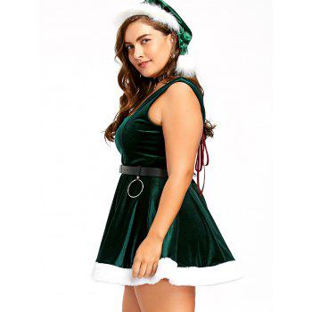 Christmas Lace Up Skater Dress with Hat - DEEP GREEN DEEP GREEN