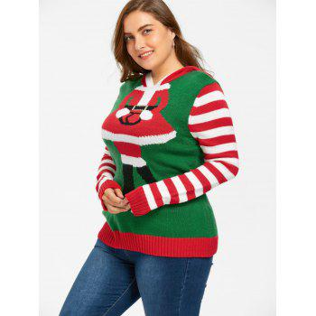 Christmas Plus Size Hooded Striped Knitwear - RED/GREEN 4XL