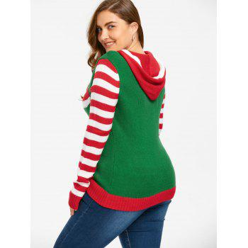 Christmas Plus Size Hooded Striped Knitwear - RED/GREEN 5XL