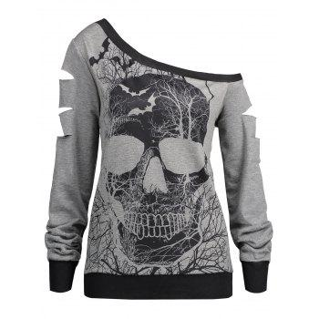Halloween Skull Print Ripped Skew Neck Sweatshirt - LIGHT GRAY LIGHT GRAY