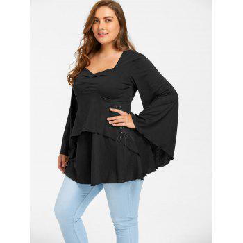 Plus Size Lace Up Sweetheart Neck Top - BLACK 3XL
