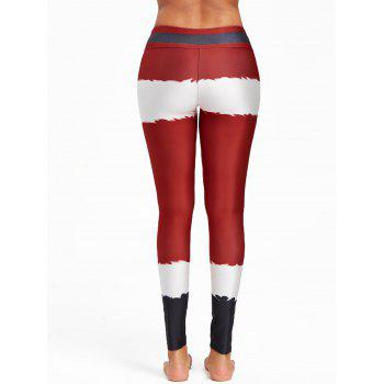 Christmas Belt Print Color Block Leggings - RED M