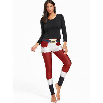 Christmas Belt Print Color Block Leggings - RED RED