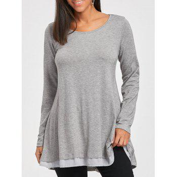 Chiffon Trimmed Scoop Neck Tunic Top - GRAY GRAY