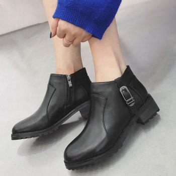 Buckle Strap Side Zip Ankle Boots - BLACK BLACK