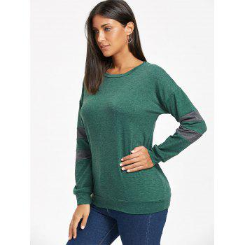 Drop Shoulder Color Block Tunic Sweatshirt - GREEN GREEN