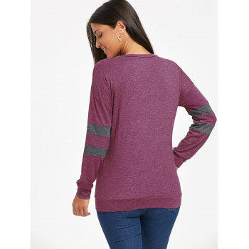 Drop Shoulder Color Block Tunic Sweatshirt - PURPLE PURPLE
