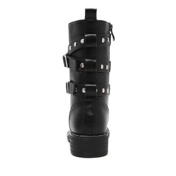 Studded Buckle Strap Stacked Heel Ankle Boots - BLACK BLACK
