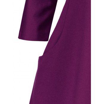Plus Size Fitted Dress with Pockets - PURPLE PURPLE