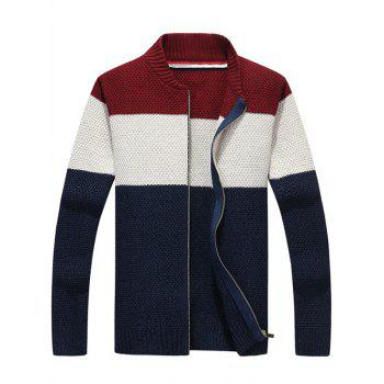 Zip Up Stand Collar Striped Sweater - PURPLISH BLUE PURPLISH BLUE
