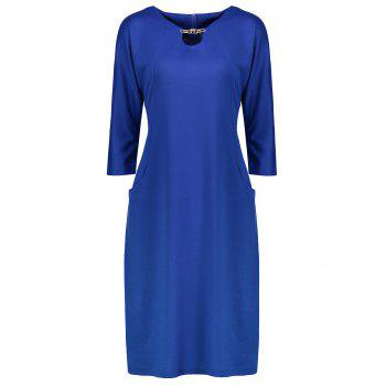 Plus Size Fitted Dress with Pockets - BLUE BLUE