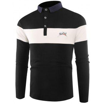 Color Block Embroidered Buttons Polo T-shirt - BLACK BLACK