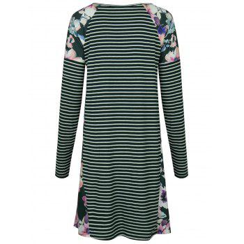 Raglan Sleeve Floral Print Striped Dress - GREEN GREEN