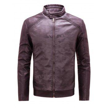 Camouflage Print Zip Up Faux Leather Jacket - WINE RED WINE RED
