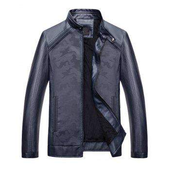 Camouflage Print Zip Up Faux Leather Jacket - BLUE BLUE