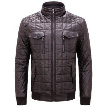 Chest Flap Pockets Quilted Faux Leather Jacket - COFFEE COFFEE