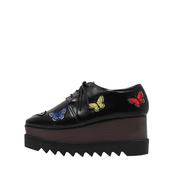 Butterfly Embroidery PU Leather Wedge Shoes - BLACK BLACK