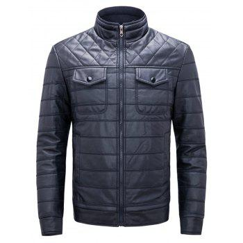 Button Chest Pockets Quilted Faux Leather Jacket - BLUE BLUE