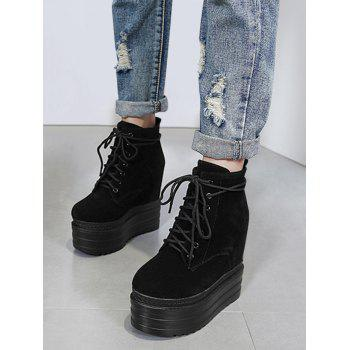 Platform Tie Up Ankle Boots - BLACK 37/6.5
