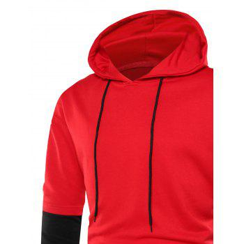 Graphic Print Color Block Side Slit Hoodie - RED RED