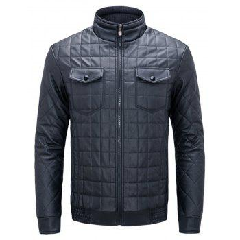 Quilted Grid Stand Collar Faux Leather Jacket - BLUE BLUE