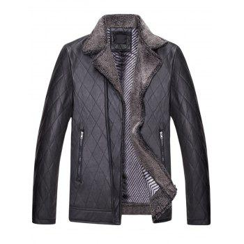 Notch Lapel Checked Faux Leather Jacket - BLACK BLACK