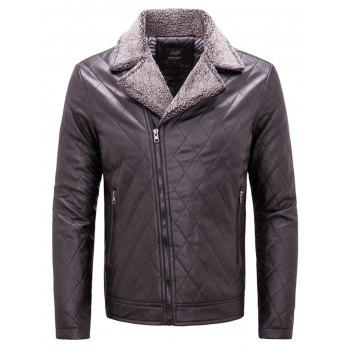 Notch Lapel Checked Faux Leather Jacket - COFFEE COFFEE