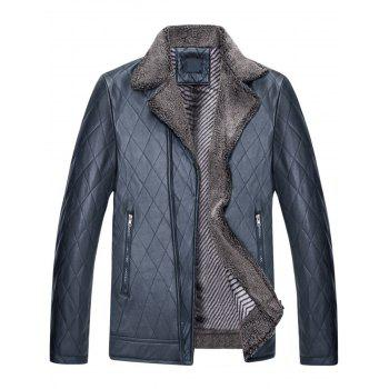 Notch Lapel Checked Faux Leather Jacket - BLUE BLUE