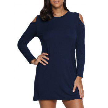 Cold Shoulder Mini T Shirt Dress - PURPLISH BLUE PURPLISH BLUE