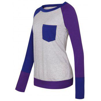 Color Block Raglan Sleeve Pocket T-shirt - PURPLE PURPLE