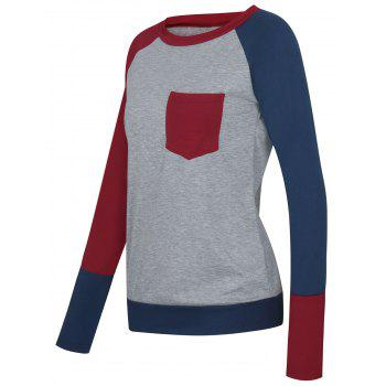 Color Block Raglan Sleeve Pocket T-shirt - WINE RED WINE RED