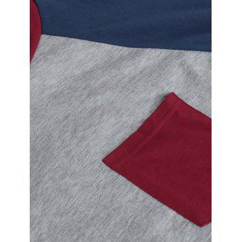Color Block Raglan Sleeve Pocket T-shirt - WINE RED XL