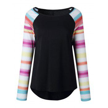 Print Raglan Sleeve Top - BLACK BLACK