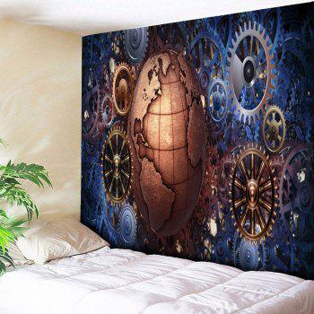 Gear Wheel and Globe Printed Vintage Wall Tapestry - COLORMIX COLORMIX