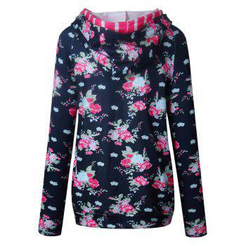 Floral Print Striped Panel Hoodie - BLACK BLACK