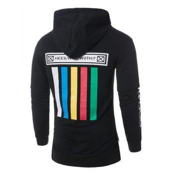 Colorful Stripe Graphic Print Pullover Hoodie - BLACK BLACK