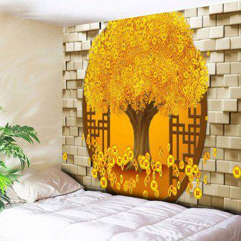 Copper Coin Money Tree Pattern Wall Tapestry - GOLDEN GOLDEN